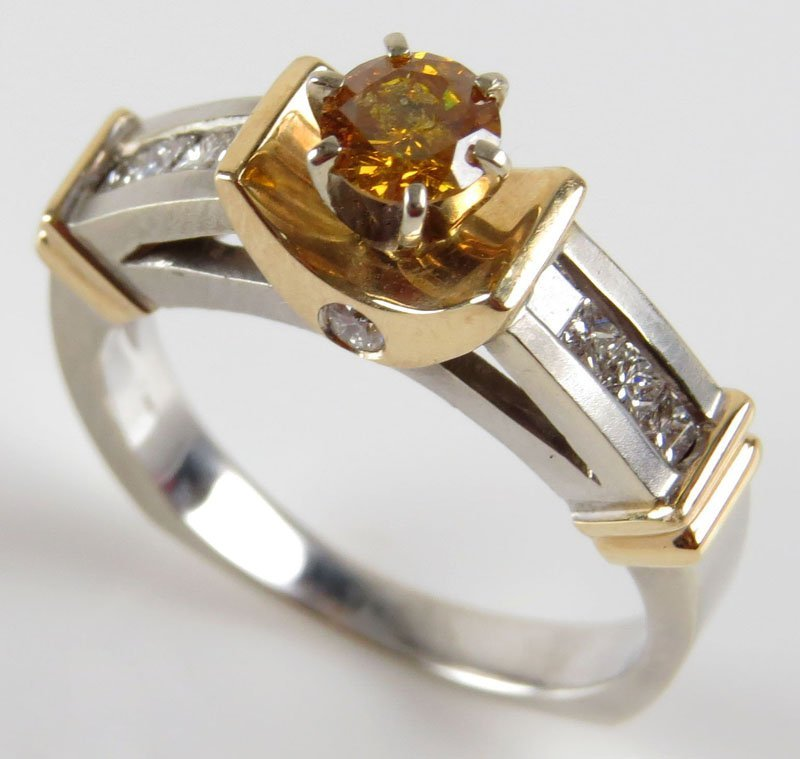 Fancy Yellowish Amber Diamond Engagement Ring Set in 14