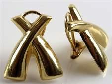 Pair of 14 Karat Yellow Gold Criss Cross Ladies Clip
