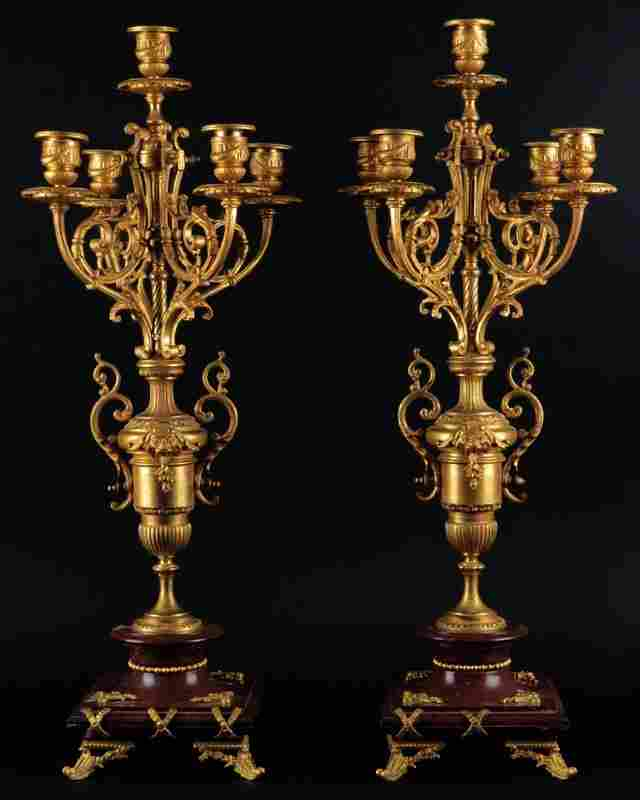 Pair of Late 19th Century French Gilt Bronze and Rouge