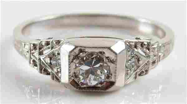Vintage 18 Karat White Gold, 0.23 Carat Diamond