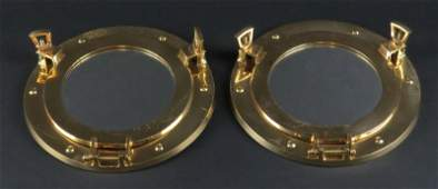 Matched Pair of Vintage Brass Nautical Ships Portholes