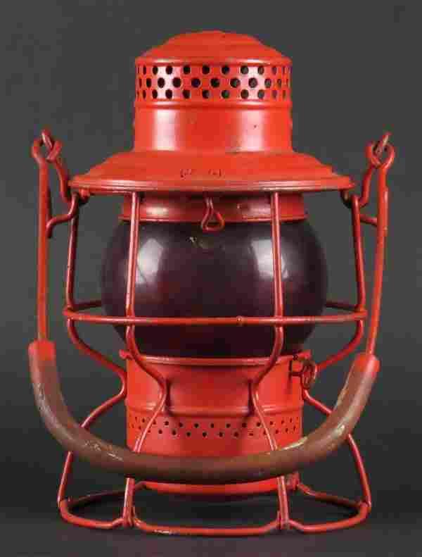 Vintage Adams & Westlake Railroad Lantern with Red