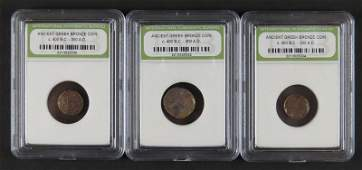 Collection of Three (3) Ancient Greek Bronze Coins.