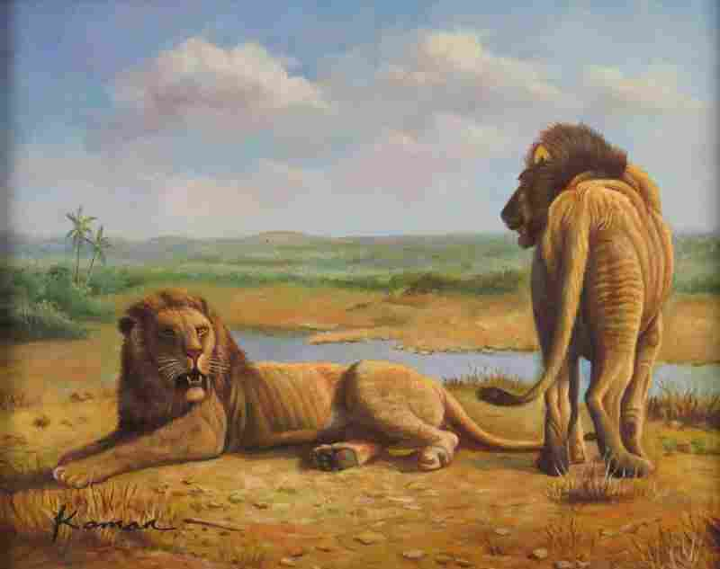 Contemporary Oil on Board Lions on the Plain. Signed