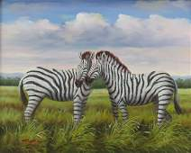 Contemporary Oil on Canvas Zebras On The Plain Signed