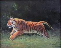 Contemporary Oil on Board Running Tiger Signed A Hale