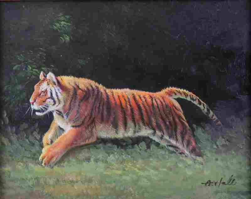 Contemporary Oil on Board Running Tiger. Signed A. Hale