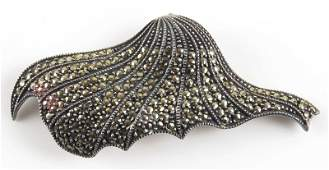Sterling Silver and Marcasite Pin. Signed Sterling and