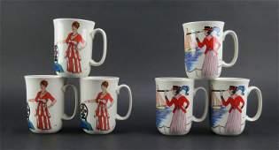 "Six (6) Villeroy & Boch Porcelain Mugs in the ""Design"