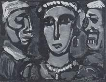 """Georges Rouault French (1871-1958) Wood Engraving """"Les"""