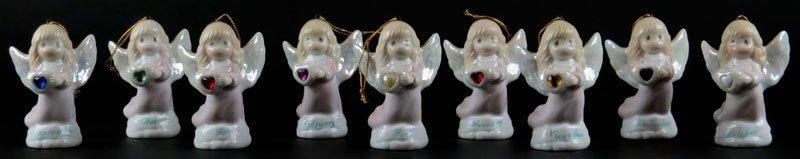 Collection of Nine (9) Enesco Porcelain Angel Christmas