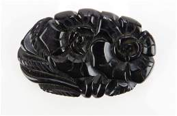Vintage Black Bakelite Flower Pin Unsigned Good