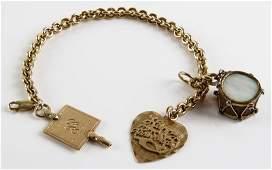 14 Karat Yellow Chain Link Style Bracelet with Three