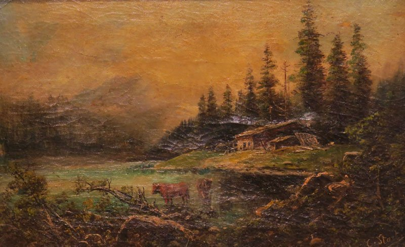 """19/20th Century School Oil on Canvas """"Mountain"""