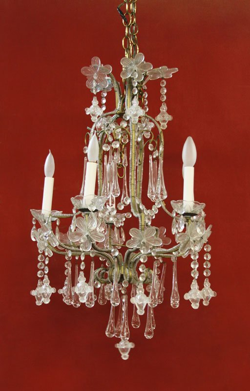 Vintage Italian Beaded Metal And Glass Chandelier.
