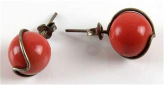 Vintage Pair of Sterling Silver and Red Coral Earrings.