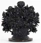 Vintage Cast Iron Figure of Floral Basket Door Stop