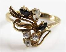 14 Karat Yellow Gold, Diamond and Sapphire or Black
