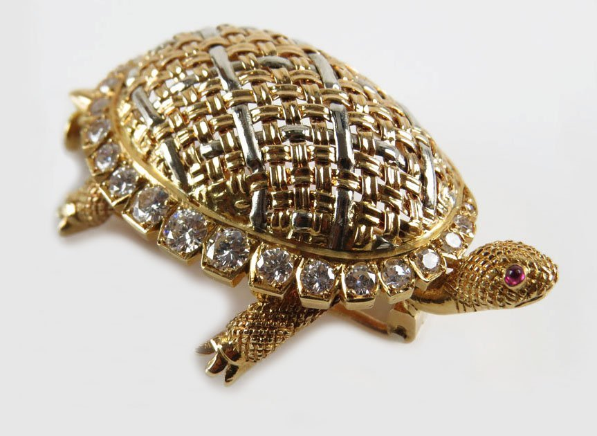 Vintage 18 Karat Yellow and White Gold Turtle Clip with