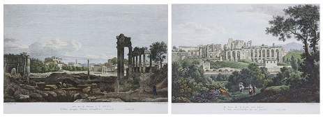"Two (2) Pietro Parboni Italian Color Etchings ""Ruins"""