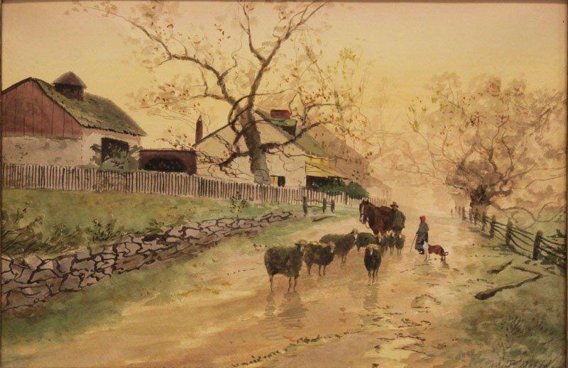 Peter Moran American (1841-1914) Watercolor On Paper