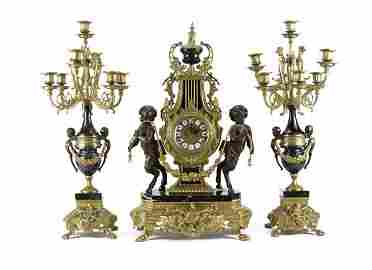 Bronze and Marble Garniture Clock Set with Pan Figures.