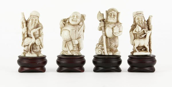 Four (4) Chinese Composition Immortal Figures on Wooden