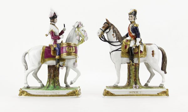"Two (2) German Hand Painted and Gilt ""Soult"" and ""Garde"