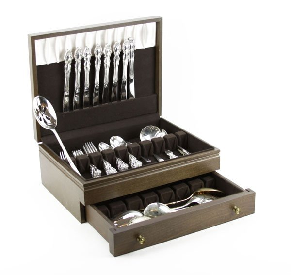 Silver Plated Flatware Service in Wooden Box. Good