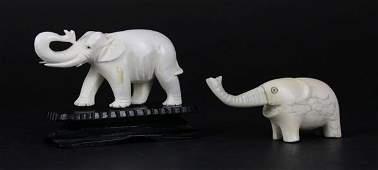 Two 2 Hand Carved Ivory Tusk Up Elephants Figures