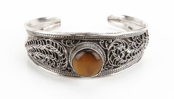 Sterling Silver Scrolled Cuff  Bracelet with Tiger Eye