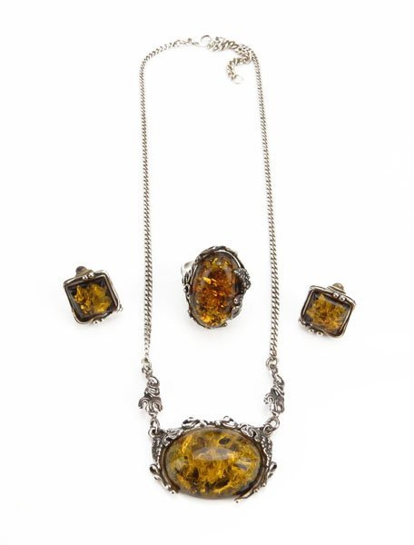 Art Nouveau Sterling Silver and Russian Baltic Amber