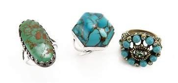 Lot of Three 3 Vintage Designer Turquoise Inlaid Ring