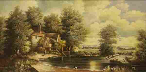 Large Contemporary Oil on Canvas River Lanscape