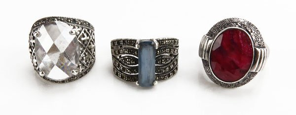Three (3) Sterling Silver Ladies Rings with Simulated