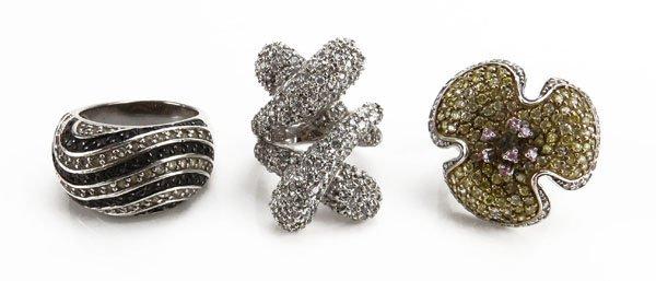 Three (3) Stunning Sterling Silver Jeweled Ladies