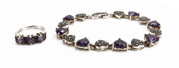 Sterling Silver Marcasite and Amethyst Heart Shape