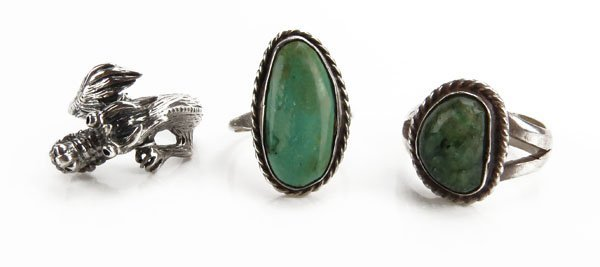 Three (3) Vintage Sterling Silver Rings. Includes Two