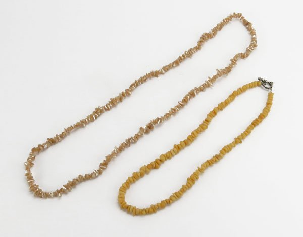 Two (2) Natural Stone Beaded Ladies Necklaces. Includes