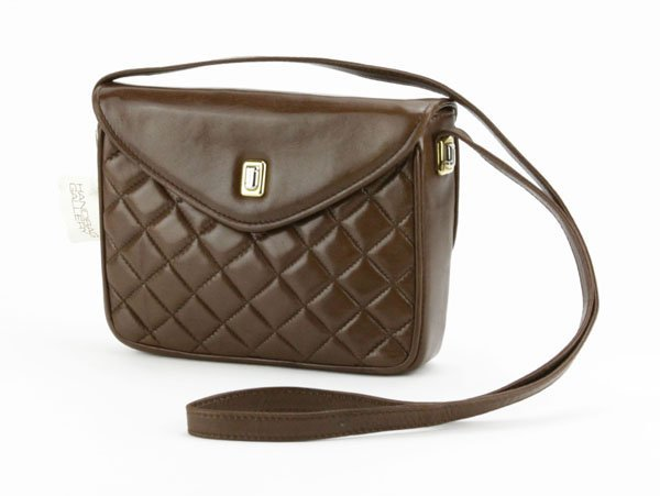 Judith Leiber Quilted Brown Leather Shoulder Bag.
