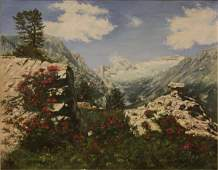 20th C Oil on Canvas Mountain Scene Signed E Ebert