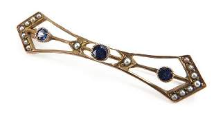 Victorian Style 10 Karat Yellow Gold Pearl and Sapphire