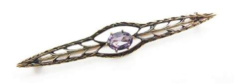 Victorian Style 10 Karat Yellow Gold and Amethyst Bar
