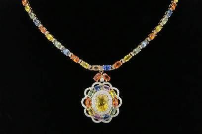AIG Certified 28.15 Carat Multi Color Sapphire Diamond