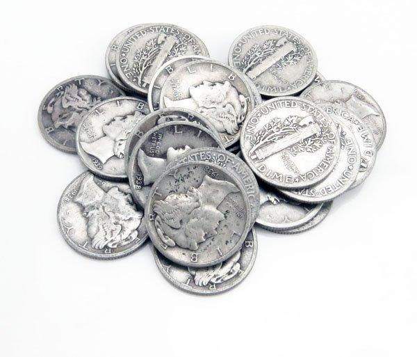 Lot of Twenty-Five (25) Circa 1930s U.S. Mercury Silver