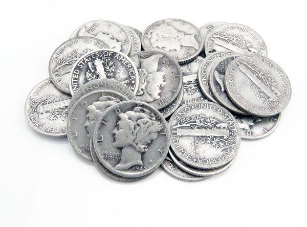 Lot of Twenty-Five (25)  U.S. Mercury Silver Dimes From