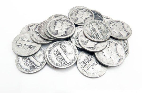 Lot of Twenty-Five (25) Circa 1920s U.S. Mercury Silver