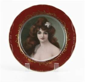 """Vintage Gilt """"Fleur de Lys"""" Porcelain Portrait Plate."""