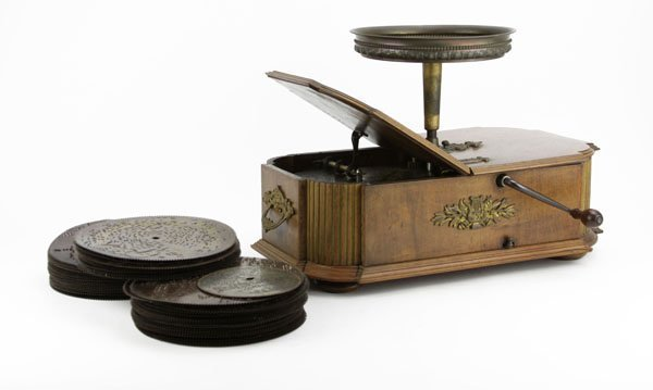 Late 19th C. Victorian Veneered Wooden Music Box with