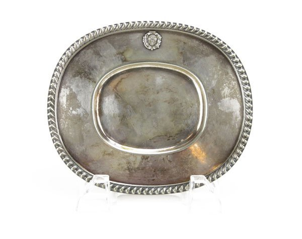 Vintage Sterling Silver Tray with Code of Arms Motif.
